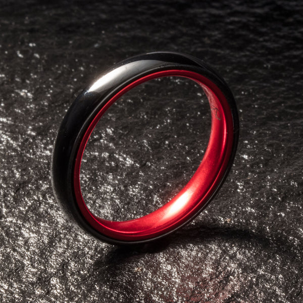 Black Ceramic Ring - Resilient Red - 4MM