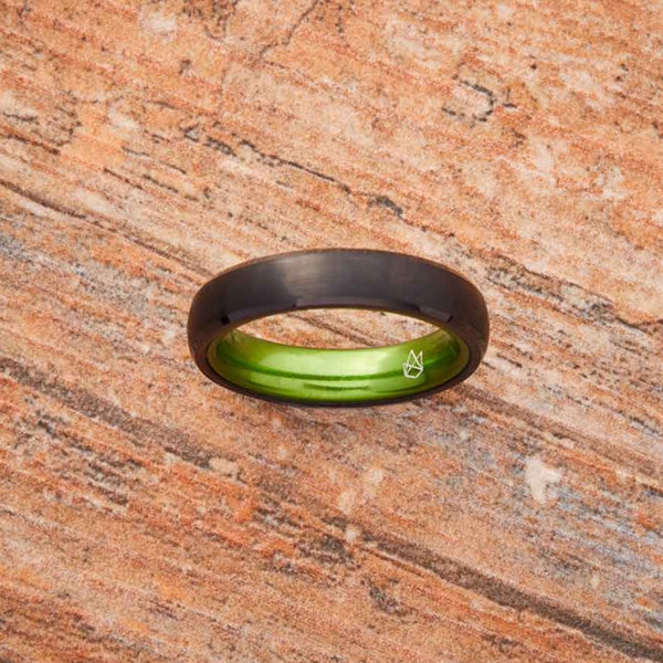 Black Tungsten Ring - Resilient Green - 4MM