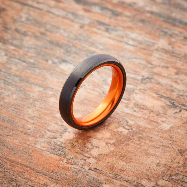 Black Tungsten Ring - Resilient Orange - 4MM