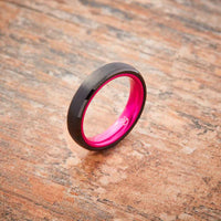 Black Tungsten Ring - Resilient Pink - 4MM