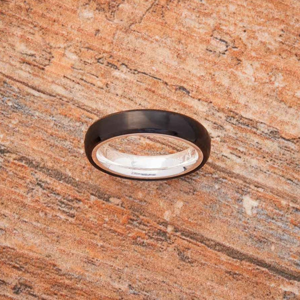 Black Tungsten Ring - Sterling Silver - 4MM
