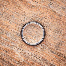 Load image into Gallery viewer, Black Tungsten Ring - Sterling Silver - 4MM
