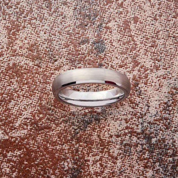 Silver Tungsten Ring - Minimalist - 4MM