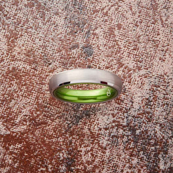 Silver Tungsten Ring - Resilient Green - 4MM