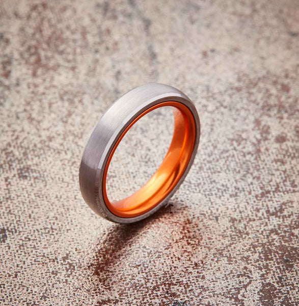 Silver Tungsten Ring - Resilient Orange - 4MM