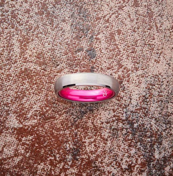 Silver Tungsten Ring - Resilient Pink - 4MM