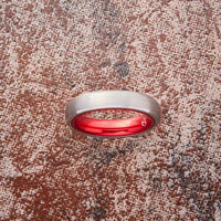 Silver Tungsten Ring - Resilient Red - 4MM