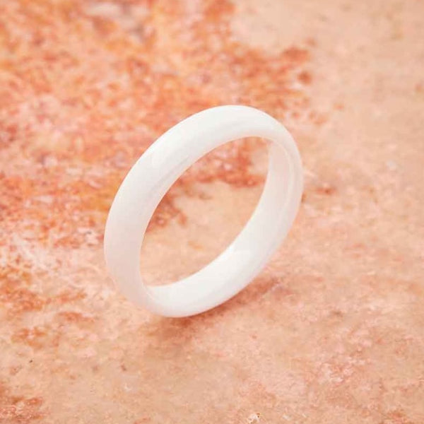 White Ceramic Ring - Minimalist - 4MM