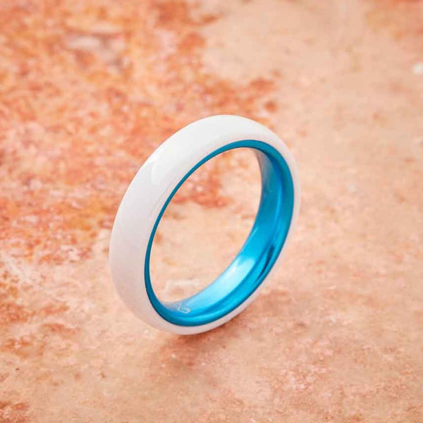 White Ceramic Ring - Resilient Blue - 4MM