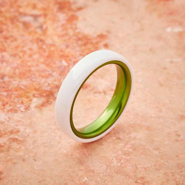 White Ceramic Ring - Resilient Green - 4MM