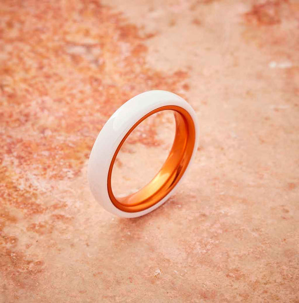 White Ceramic Ring - Resilient Orange - 4MM