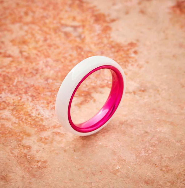 White Ceramic Ring - Resilient Pink - 4MM