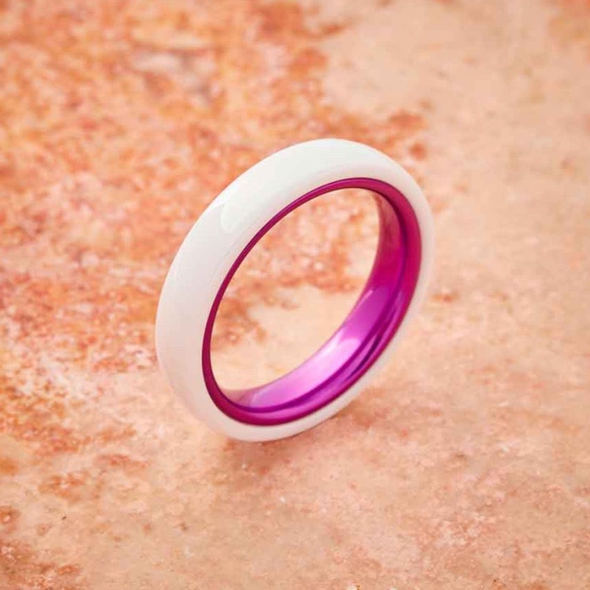 White Ceramic Ring - Resilient Purple - 4MM