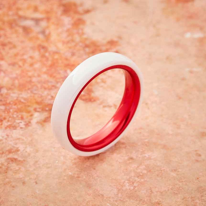 White Ceramic Ring - Resilient Red - 4MM