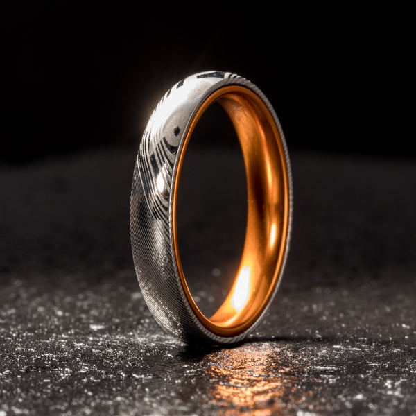 Wood Grain Damascus Steel Ring - Resilient Orange - 4MM
