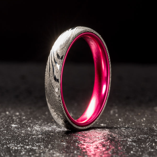 Embr Wood Grain Damascus Steel Ring Resilient Pink 4mm