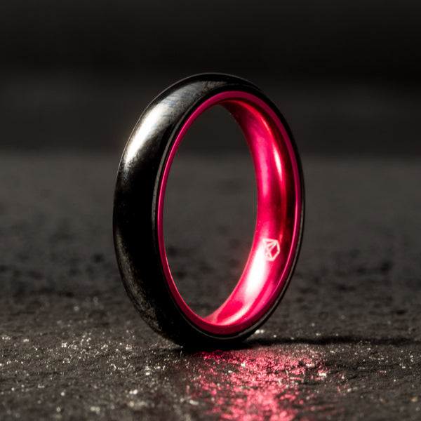 Black Ceramic Ring - Resilient Pink - 4MM