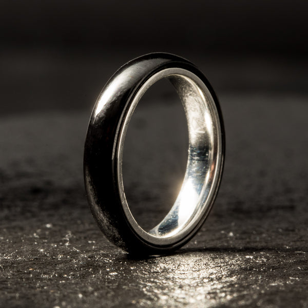 Black Ceramic Ring - Sterling Silver - 4MM