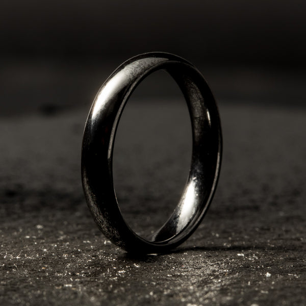Black Ceramic Ring - Minimalist - 4MM