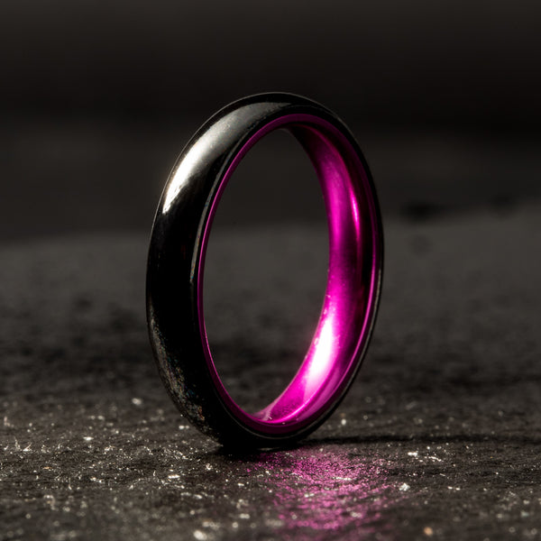 Black Ceramic Ring - Resilient Purple - 4MM