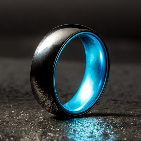 Black Ceramic Ring - Resilient Blue