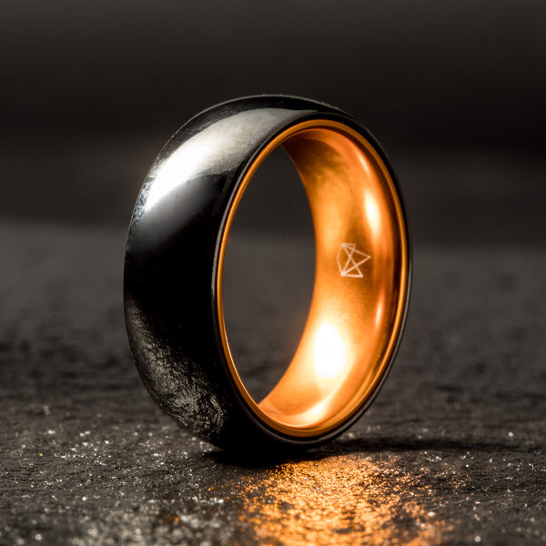 Black Ceramic Ring - Resilient Orange