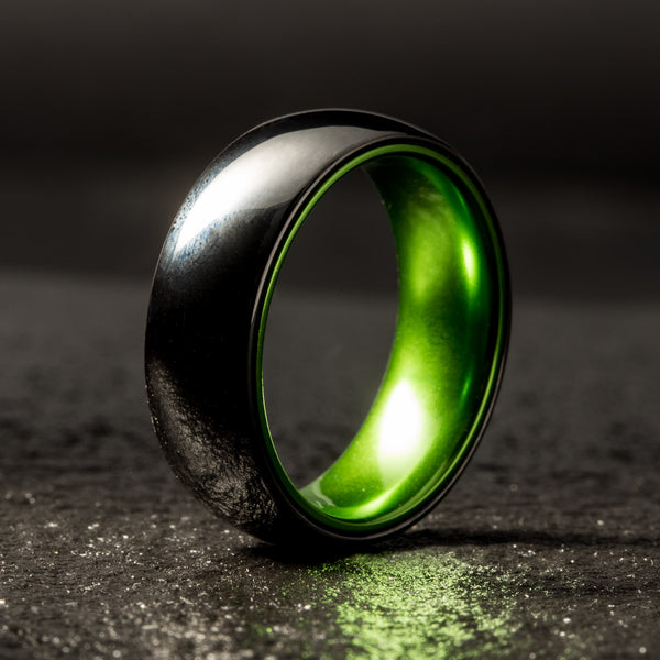 Black Ceramic Ring - Resilient Green