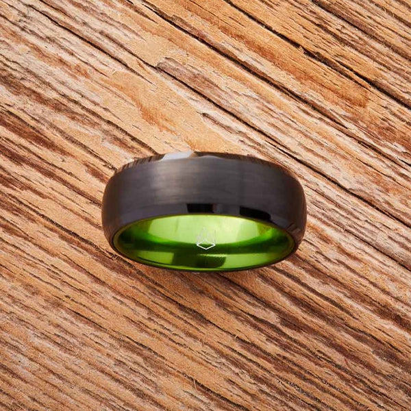 Black Tungsten Ring - Resilient Green -8MM