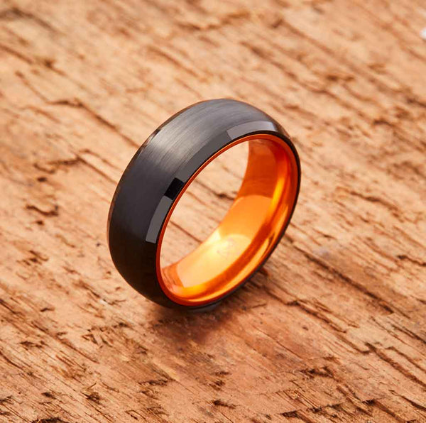 Black Tungsten Ring - Resilient Orange - 8MM