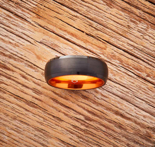Black Tungsten Ring - Resilient Orange