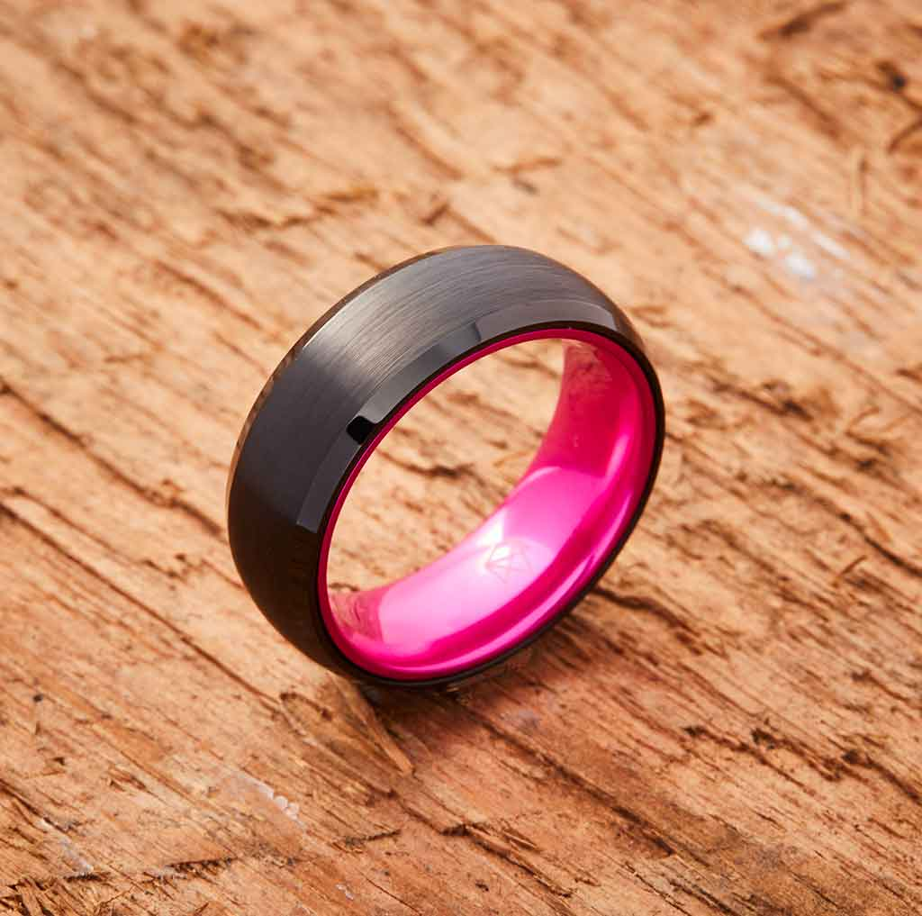 Black Tungsten Ring - Resilient Pink