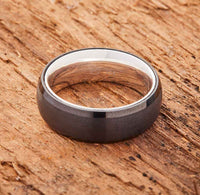 Black Tungsten Ring - Sterling Silver