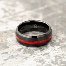 Load image into Gallery viewer, Black Tungsten Ring - Red Infinity