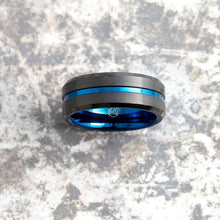 Load image into Gallery viewer, Black Tungsten Ring - Blue Infinity