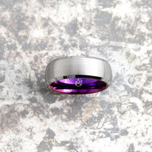 Load image into Gallery viewer, Silver Tungsten Ring - Purple EMBR