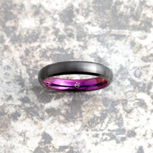 Load image into Gallery viewer, Black Tungsten Ring - Purple EMBR - 4MM