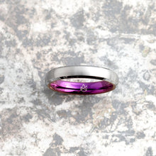 Load image into Gallery viewer, Silver Tungsten Ring - Purple EMBR - 4MM