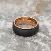 Black Tungsten Ring Band - Rose Gold