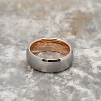 Silver Tungsten Ring - Rose Gold
