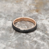 Black Tungsten Ring Band - Rose Gold - 4MM