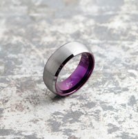 Silver Tungsten Ring - Purple Embr