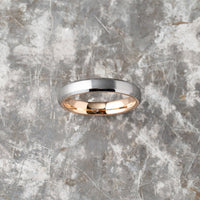 Silver Tungsten Ring - Rose Gold - 4MM
