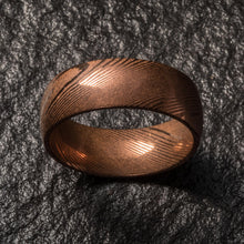 Load image into Gallery viewer, Wood Grain Damascus Steel Ring - Copper Minimalist