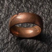 Wood Grain Damascus Steel Ring - Copper Minimalist