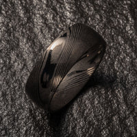 Wood Grain Damascus Steel Ring - Gun Metal Minimalist