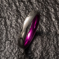 Wood Grain Damascus Steel Ring - Resilient Purple - 4MM