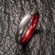Load image into Gallery viewer, Wood Grain Damascus Steel Ring - Resilient Red - 4MM