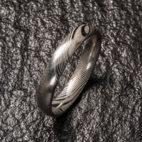 Wood Grain Damascus Steel Ring - Minimalist - 4MM