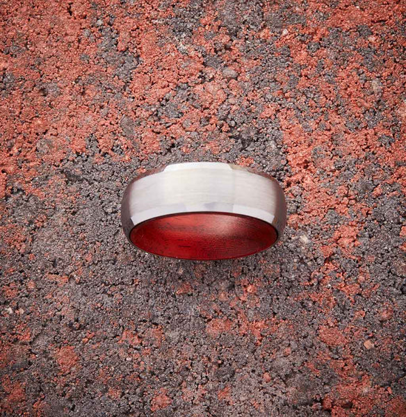 Silver Tungsten Ring - Red Sandalwood