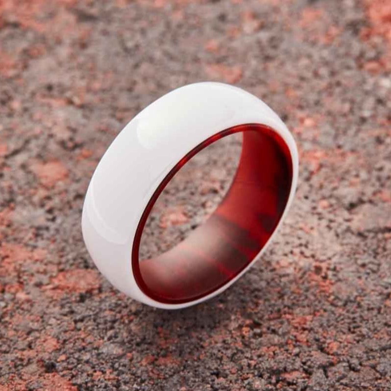 White Ceramic Ring - Red Sandalwood